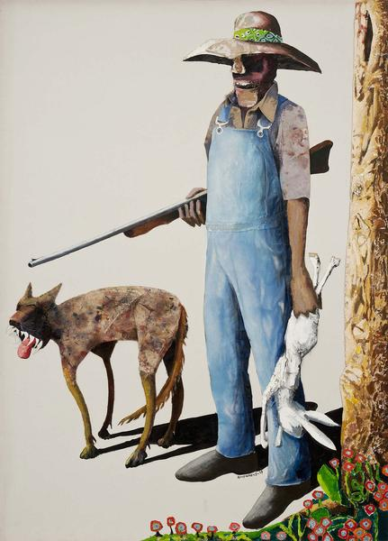 Benny Andrews (1930-2006) Hunters, 1989 oil on can...