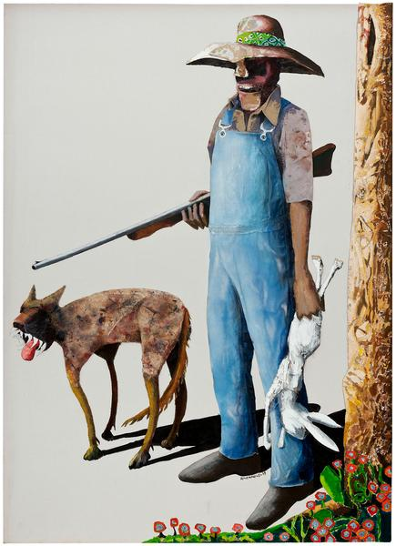 Hunters, 1989 oil on canvas with painted fabric co...