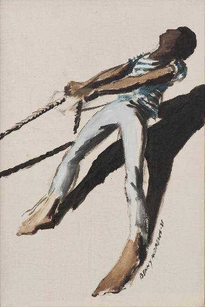 Benny Andrews (1930-2006) Puller (Study #1 for Tra...