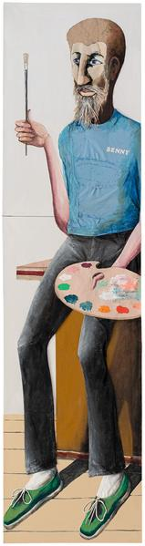 Benny (Self Portrait), 1992 oil on three joined ca...