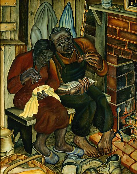 Old Couple (aka Home Sweet Home), 1944 oil on boar...