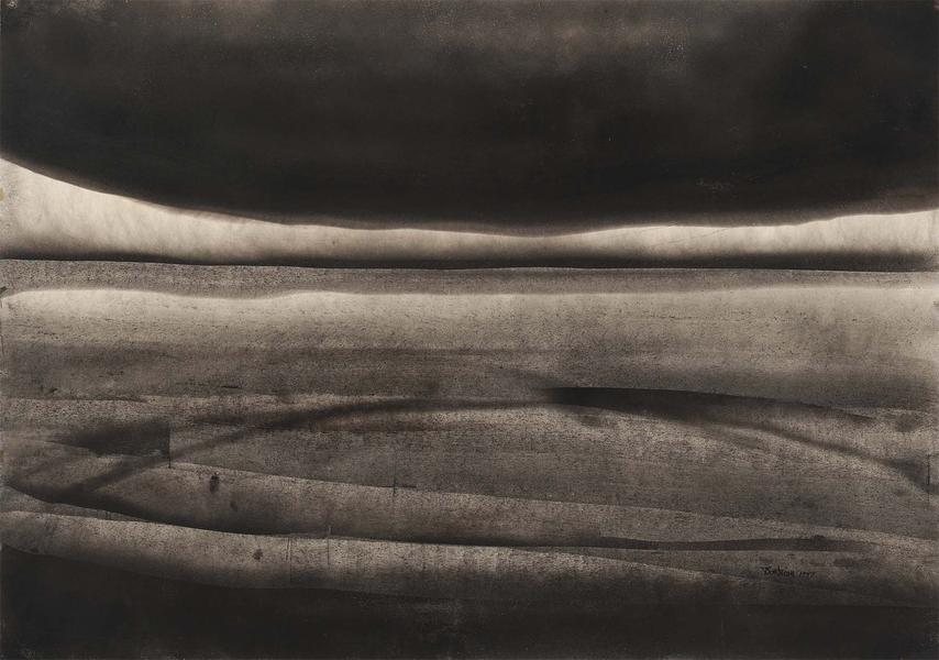 "Untitled, 1957 soot on paper 27 5/8"" x 39 3/8..."