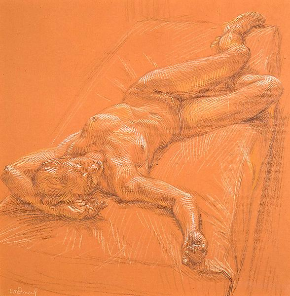 Reclining Female Nude (#RB7), c. 1965 crayon on or...