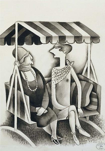 "Untitled, c.1935 ink and gouache on paper 14""..."