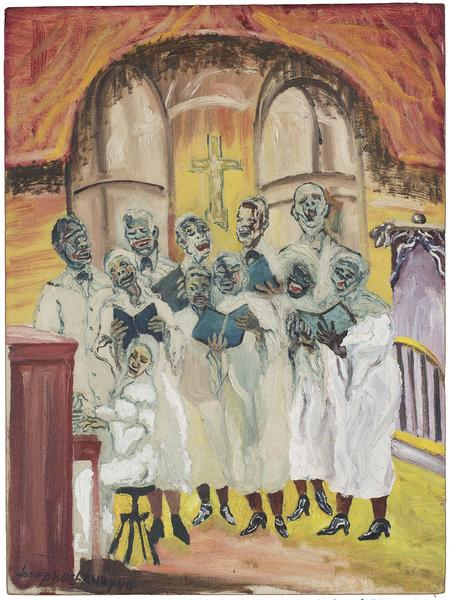 "Gospel, 1940 oil on canvasboard 24"" x 17 3/4&..."
