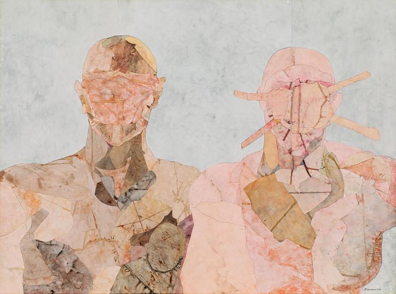 Double Portrait, 1974 collage of various papers an...