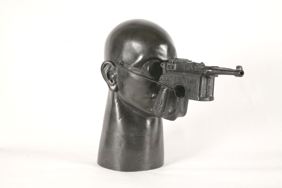 Gunhead, 1991 bronze with patina and copper wire 1...