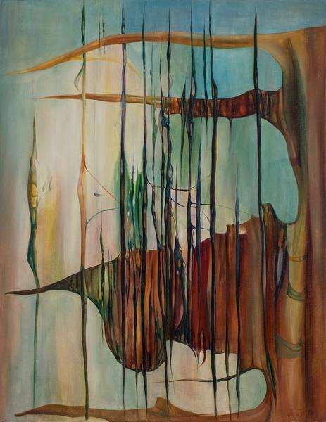 "Pinnacle, 1946 oil on canvas 38"" x 29"",..."