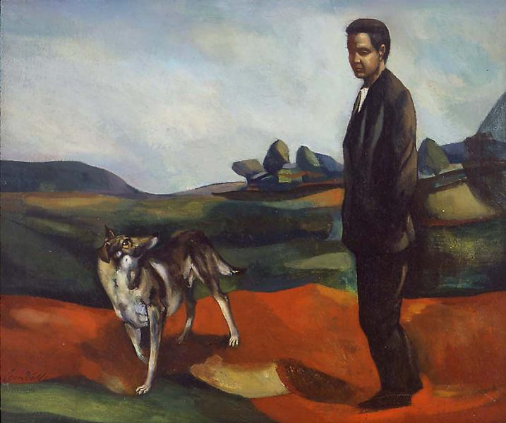 Portrait of the Artist and His Dog, 1932 oil on ca...