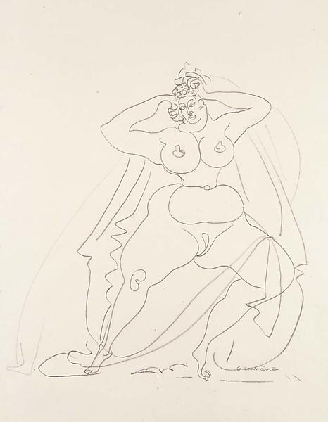 Untitled (Standing Woman), recto, c.1930 graphite...