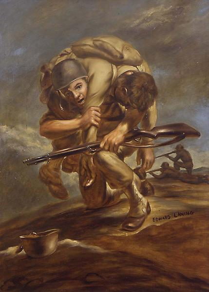 Rescue (World War II Soldiers), c.1942 oil on canv...