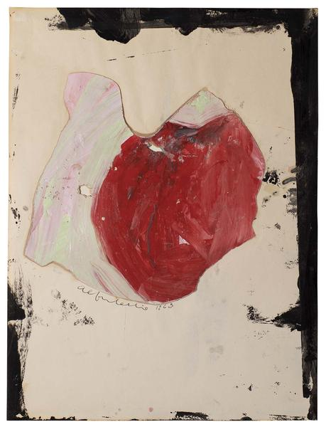 Untitled, 1963 oil, ink, wax, and paper collage on...