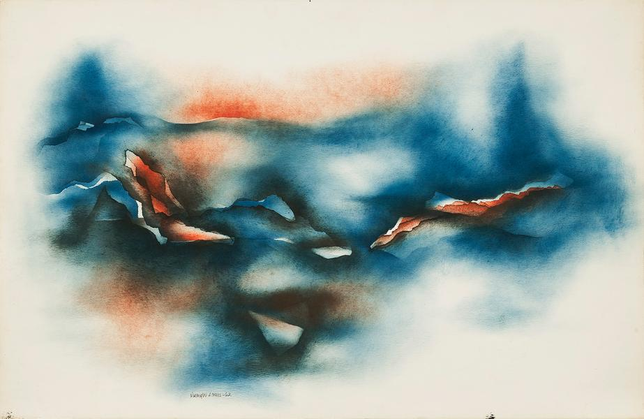 "Mountains, 1962 oil on paper 26 1/8"" x 40&quo..."