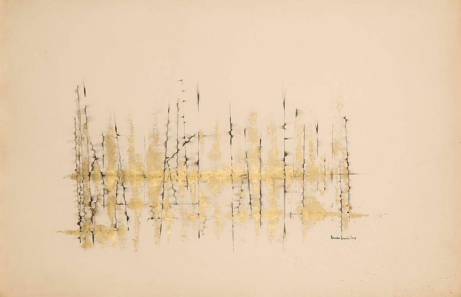 Untitled (Winter Branches), 1954 ink and gold meta...