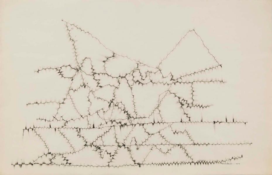 "Winter Branches #1, 1953 ink on paper 26"" x 4..."