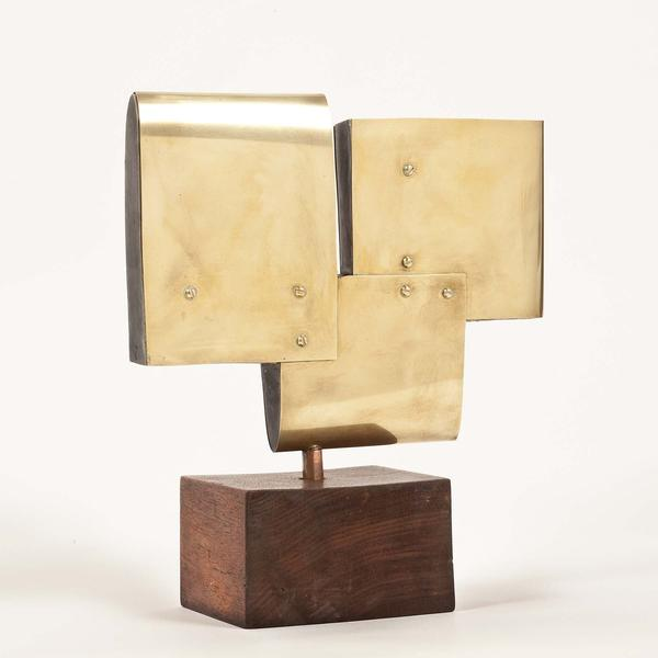 S-I-SCP-66, 1966 brass, copper and resin on wooden...