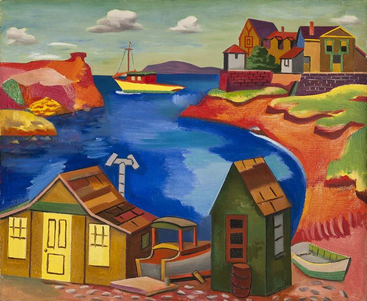 "Houses on a Cove, c.1930 oil on canvas 23 1/4""..."