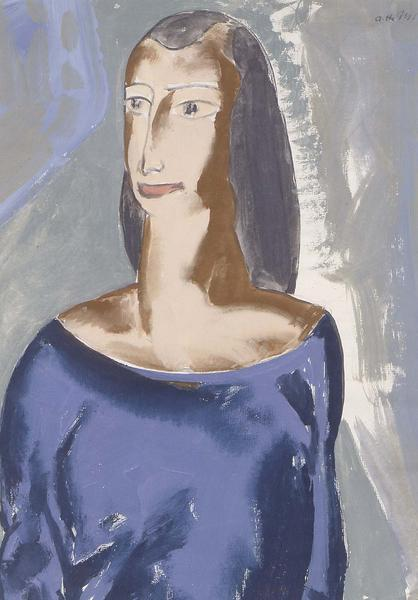 Female Portrait, c.1925 gouache and pencil on pape...