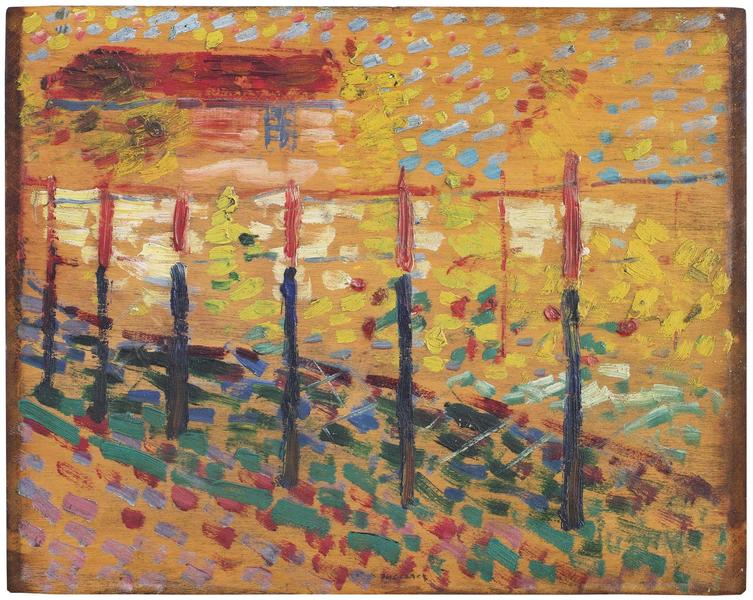 Du Pont au Campagne, 1907 oil on wood panel (doubl...