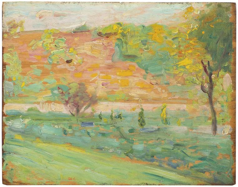 Les Collines du Printemps, 1907 oil on wood panel...