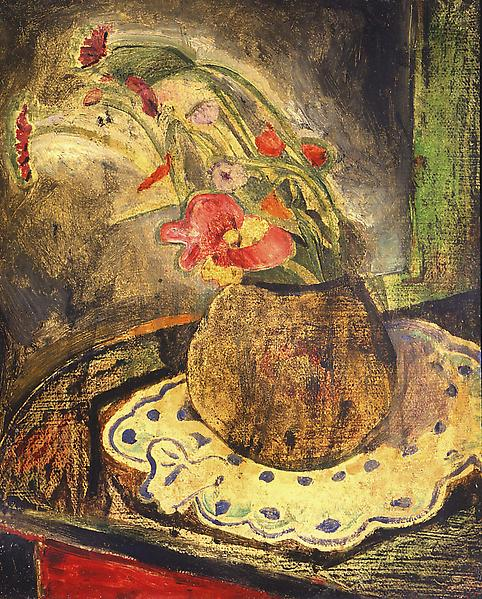 Floral Still Life, c.1920 oil on wood panel 21 5/8...