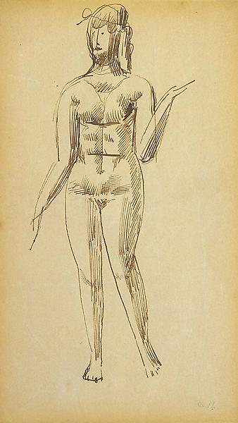"Untitled, c.1908 sepia ink on paper 8 3/16"" x..."