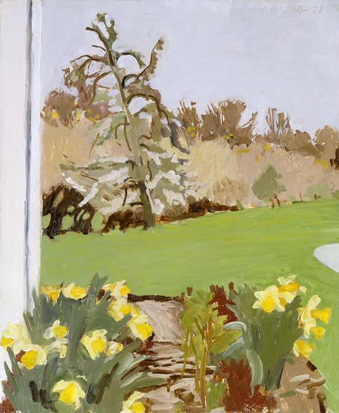 Daffodils and Pear Tree, 1973 oil on Masonite...