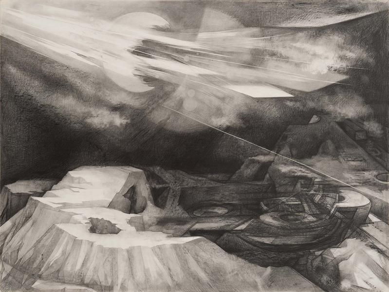 Weather Balloons Over Crater, c.1977 graphite on p...