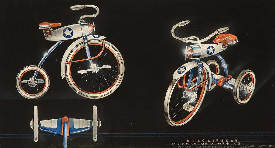 Velocipedes, 1943 gouache, ink, graphite and crayo...
