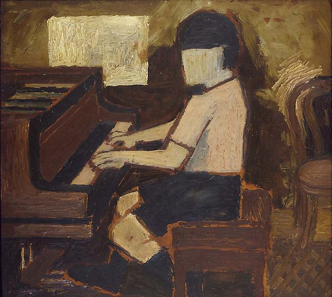 "Pianist, c.1935 oil on wood panel 17 3/4"" x 1..."