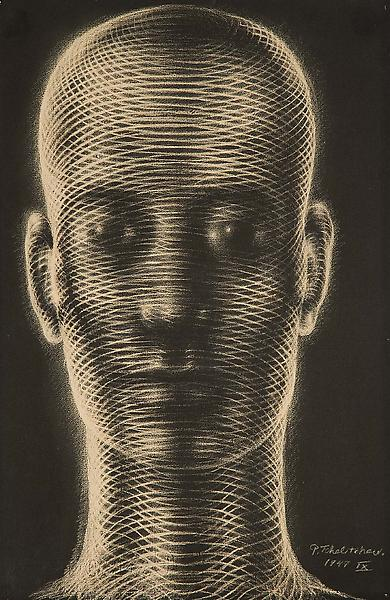 Untitled (Head), 1949 pastel on black paper 18 7/8...