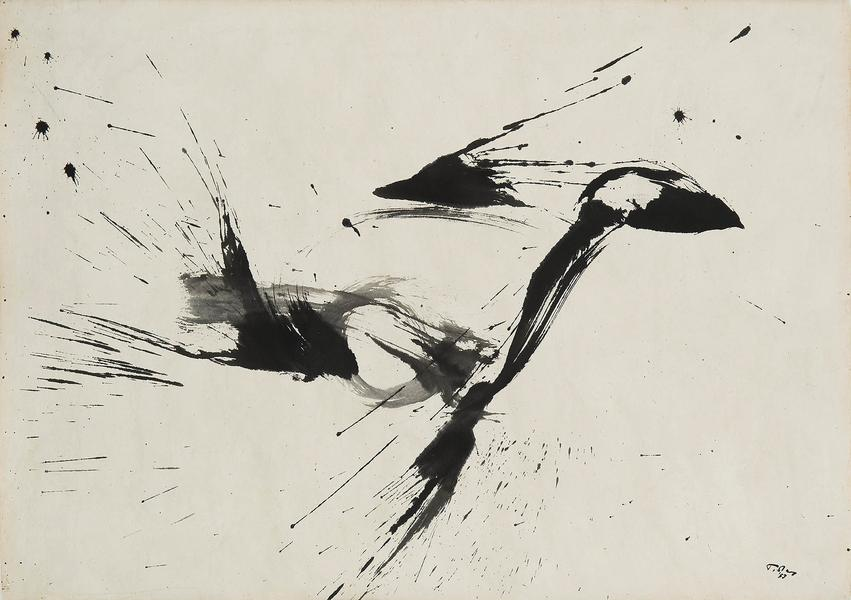 "Untitled, 1957 sumi ink on paper 24"" x 34&quo..."