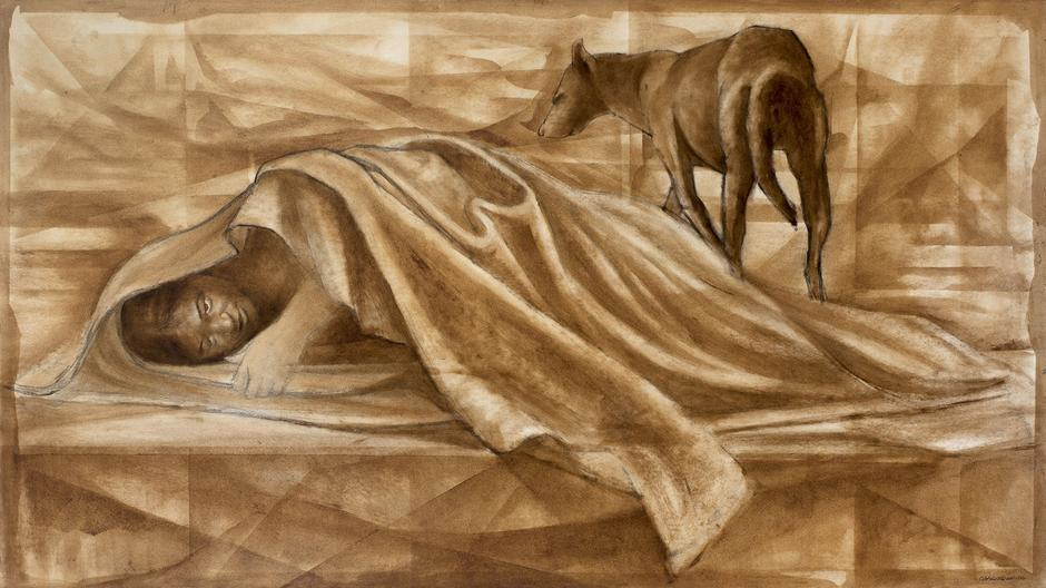 Charles White (1918-1979) Guardian, c.1968-69 oil...